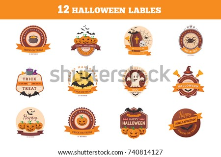 Halloween stickers collection. Traditional design for october events. Vector templates easy to edit.