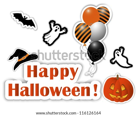 Halloween stickers, pumpkin,  hat, bat, balls, ghosts. eps10. Vector illustration.