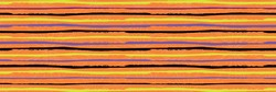 Halloween striped vector seamless border. Banner of horizontal black neon green, purple grunge stripes on spiderweb texture orange background. Hand drawn painterly design. For ribbon, party products