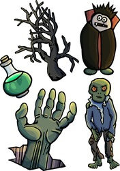Halloween stuff set, hand, scary tree, zombie, potion, cartoon style, funny vampire, isolated on white background, poison, fear, fun, adrenaline, fright, stickers, for children, mysticism, night, joy