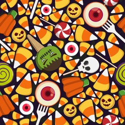 Halloween Sweet colorful Candy Seamless Pattern elements and ornaments on solid background. Many types spooky dessert