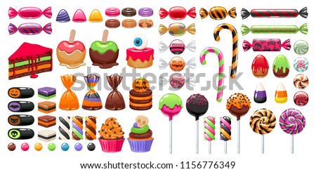 Halloween sweet treats set. Candies and snacks. - hard candy, chocolate egg and bar, candy cane, lollipop, peppermint. Vector illustration. Good for holiday designs.