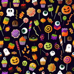 Halloween sweets pattern.Vector candies  with halloween elements and ornaments. Many types spooky dessert. Colorful treats background. Hand drawn realistic delicious,candy corn, pumpkins, eyeballs.
