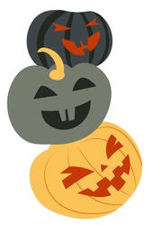 Halloween symbolic pumpkins with carved faces, jack o lanterns isolated. Illuminated veggies with eerie expressions and grins, evil eyes and smiles. Celebration of autumn season, vector in flat