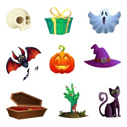 Halloween symbos collection. Cartoon style. Design of vector icons.