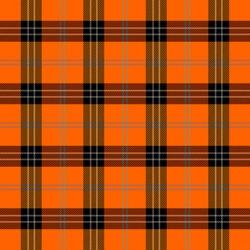 Halloween Tartan plaid. Scottish pattern in black, orange and gray cage. Scottish cage. Traditional Scottish checkered background. Seamless fabric texture. Vector illustration