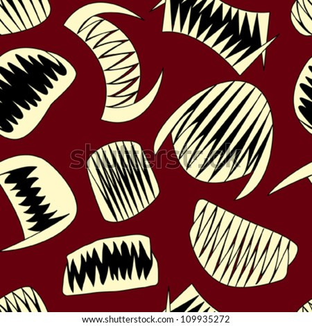 halloween teeth on red seamless pattern