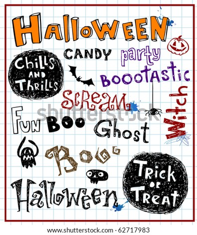 halloween text, vector doodles
