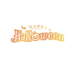 Halloween text word Hand drawn Lettering card. Modern brush calligraphy Vector illustration