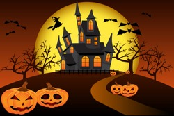 Halloween. The road to the haunted house on the hill, among the pumpkins in a creepy atmosphere with witch on broomstick, bats and full moon.  Horror vector illustration with frightful details.
