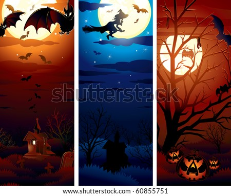 Halloween theme illustrations, banners for your text or design