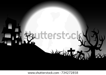 halloween theme in back and white color background.vector and illustration #734272858