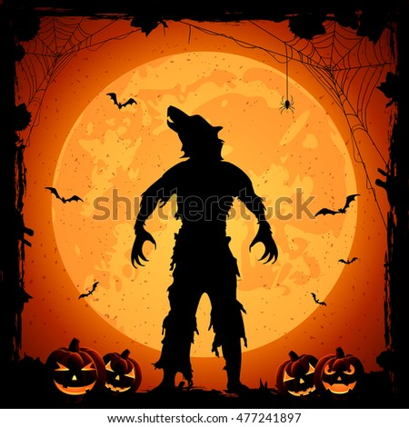 Halloween theme, werewolf on Moon background with pumpkins, grunge decoration, cobweb, spiders and bats, illustration.
