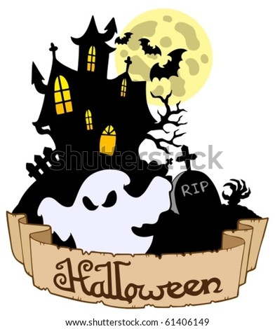 Halloween theme with ghost - vector illustration.