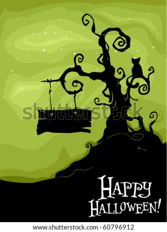 Halloween-themed Design Featuring a Dead Tree with a Black Cat Sitting on One of its Branches and a Sign Board on Another - Vector