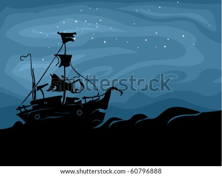 Halloween-Themed Design Featuring a Ghost Ship Sailing in the Dark Seas - Vector