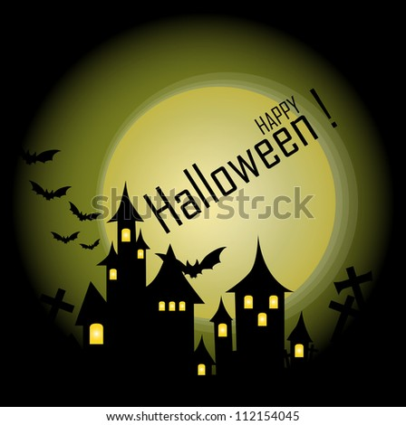 Halloween-themed Design: Halloween background with haunted house, bats and full moon, vector illustration.