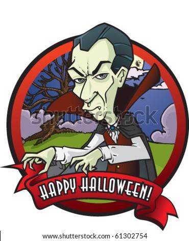 Halloween themed emblem featuring a vampire.