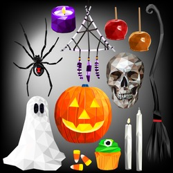 Halloween themed set colorful low poly designs isolated on dark background. Vector holiday illustration in modern style.