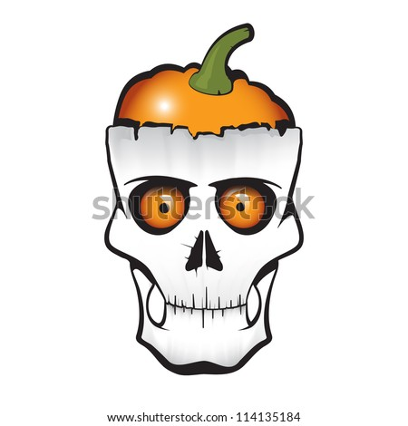 Halloween themed skull with pumpkin instead of brain. The illustration is fully editable and easy to change any detail.