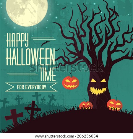 Halloween time background concept in retro style. Vector illustration design