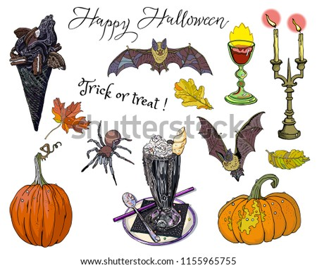 Halloween treats and symbols set, isolated objects with inscription. Black ice cream cone, unicorn milk shake, pumpkins, candles, chalice, autumn leaves, bats, spider. Goth cartoon fantasy clipart.