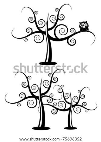 Halloween tree with cartoon owl