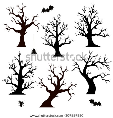 halloween trees  spiders and