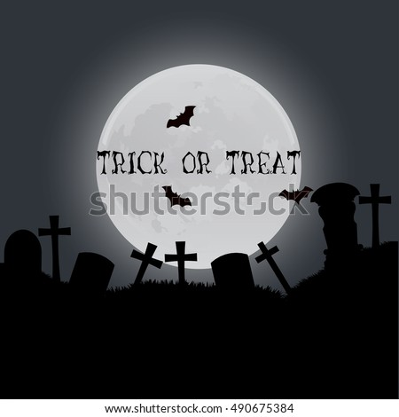 Halloween trick or treat card design. Vector illustration template night with moon greeting wallpaper decoration flyer concept magic holiday, graphic, decor, black, dark. Creative banner invitation