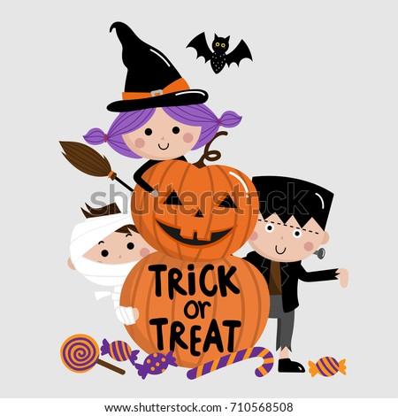 Halloween, trick or treat, kids and pumpkin vector