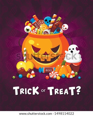 Halloween trick or treat party poster flat vector template. October holiday tradition, celebration invitation flyer design. Creepy sweets and candies cartoon illustration on purple backdrop