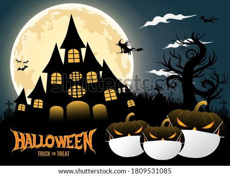 Halloween trick or treat with pumpkins wearing medical face mask background with silhouettes of castle, witch, dead tree and big moon. corona virus or COVID-19. Halloween 2020. vector illustration