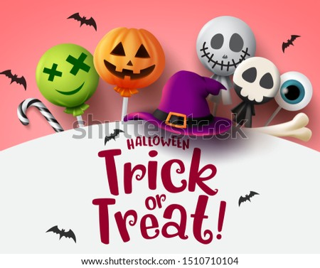 Halloween trick or treat with sweet candies vector background. Halloween trick or treat text in empty space for message with scary candy elements of lollipop, candy cane, bone and hat in white.