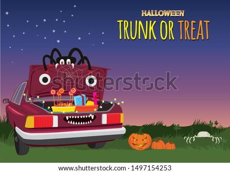 Halloween Trunk or Treat illustration graphic vector Stock photo ©