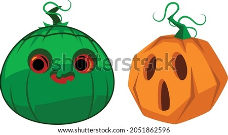 halloween two pumpkin vector