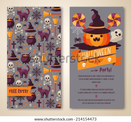 Halloween two sides poster or flyer. Vector illustration. Halloween party invitation. Place for your text message. Halloween menu design.