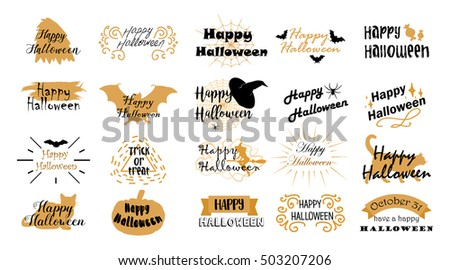 Halloween typography, lettering. Banner design, fabric print. Horror elements. Halloween party. Trick or treat. Vector 10 eps.
