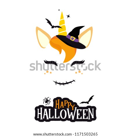 Halloween unicorn character vector graphic design. Cute cartoon unicorn head with Halloween symbols, bat, vampire, spider, witch hat. Happy Halloween greeting card calligraphy