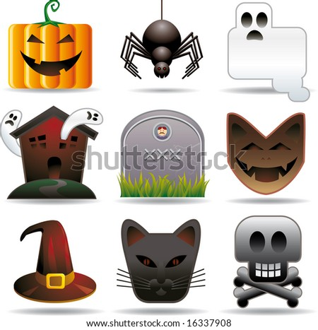 Halloween utilities. Nine halloween related objects in stylish aspect. All in separated layers