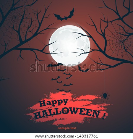 Halloween vector background with moon, bats and cobwebs