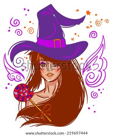 halloween vector brunette witch