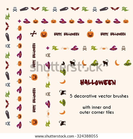 halloween vector brushes with