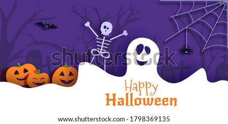 Halloween vector card illustration in paper cut style. White ghost pumpkin and skeleton cut out of cardboard on a dark background recognized. 3D bat flies over cobwebs and graveyard. Halloween banner