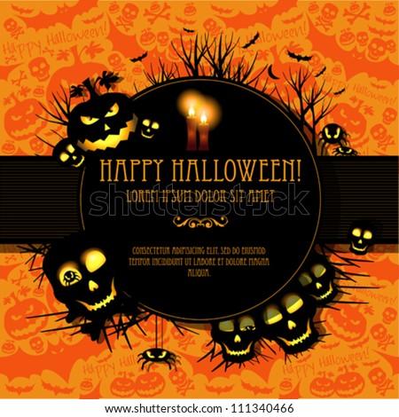Halloween vector card  or background. Vector art.