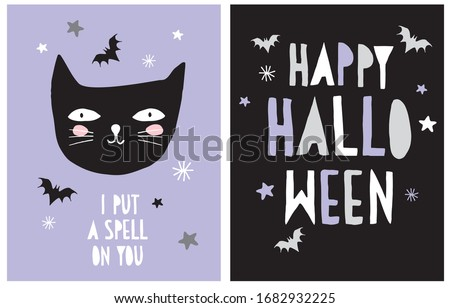 Halloween Vector Decoration for Little Kids. I Put a Spell on You. Hand Drawn Illustration with Black Cat and Flying Bats Isolated on a Violet Background. Handwritten Happy Halloween.