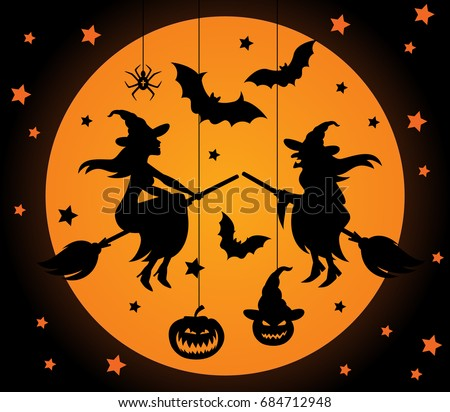 Halloween vector elements set. Laser cut halloween collection. Young and old witches on broomticks, bats and spider, pumpkin. Lasercut halloween details for decoration.