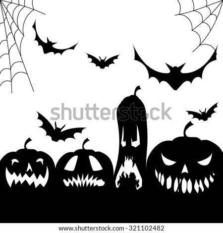 Halloween Party Blue Vertical Background Trees Bats Cats And