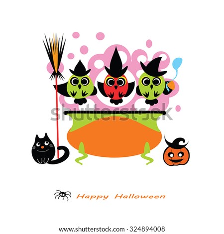 halloween vector illustration cute owl witches cooking potion in cauldron witch cauldron owls - Cute Halloween Witches