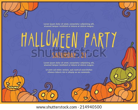 Halloween vector invitation template with pumpkin. You can use it for invitations, flyers, postcards, cards and so on.