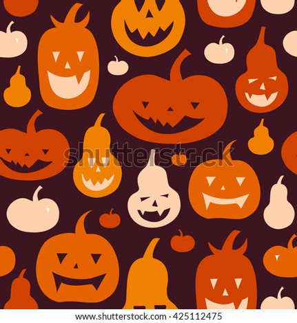 Halloween vector seamless pattern with angry silhouettes. Decorative background with funny drawing pumpkins.